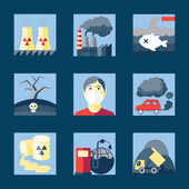 Set of pollution icons — Stock Vector