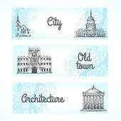 Set of banners with buildings — Stock Vector