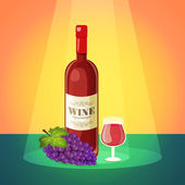 Wine with Grapes Poster — Stock Vector