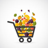 Shopping cart with fruits — Stock Vector