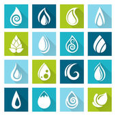 Set of water drops icons — Stock Vector