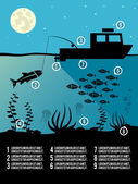 Infographic fishing poster — Vector de stock