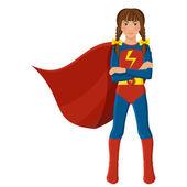 Jeune fille en costume de super héros — Vecteur