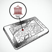 Sketch draw tablet pc with navigation map — 图库矢量图片