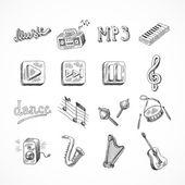 Conjunto de íconos de la música — Vector de stock