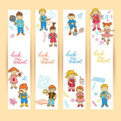 Set of banners with kids — Stockvektor