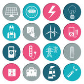Electricity power icons set — Stock Vector