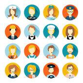 Profesión avatar en círculos — Vector de stock