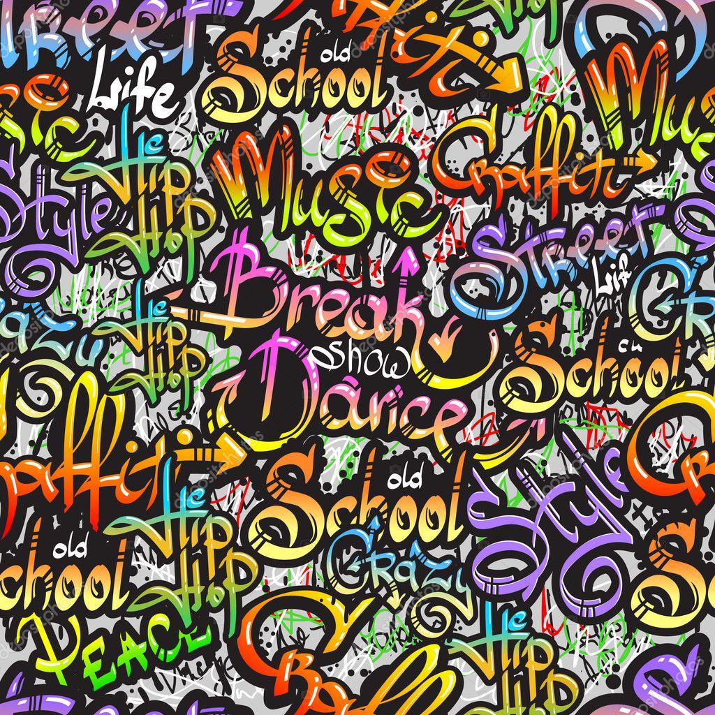 Psychedelic Wall Murals Graffiti De Patrones Sin Fisuras De La Palabra Vector De