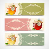 Honey banners horizontal — Stock Vector