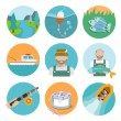 Set of fishing flat icons — Stock Vector #50650691