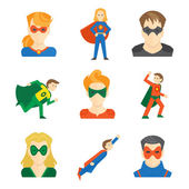 Superhero icon flat — Stock Vector