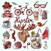 Set of hipster icons — Stock Vector