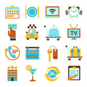 Hotel services flat icons set — Stock Vector