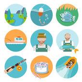 Set of fishing flat icons — Stock Vector