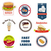 Fast food labels set — Stock vektor