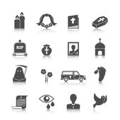 Funeral icons set — Stock Vector