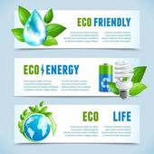 Ecology horizontal banners — Vector de stock