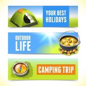 Camping horizontal banners — Stock Vector