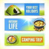 Camping horizontal banners — Stock Vector