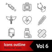 Medicine Icons Set — Stock Vector