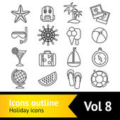 Holiday vacation icons set — Stock Vector