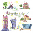 City doodle set colored — Stock Vector #51411545