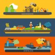Pollution Flat Banners — Vector de stock  #51411771