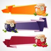 Jam origami banners set — Stock Vector