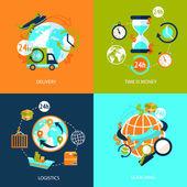 Ensemble d'icônes logistique — Vecteur