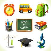 Realistic school education icons set — Vector de stock