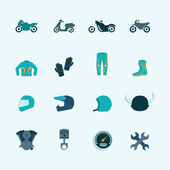Biker icon set — Stock Vector