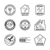 Home repair tools labels icons — Stock Vector