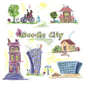 City doodle set colored — Stockvector