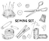 Sewing sketch set — Stock Vector
