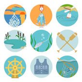 Set of fishing icons — Stock Vector