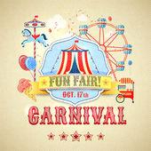Vintage carnival poster — Stock Vector