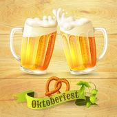 Beer mugs Octoberfest poster — Stock Vector