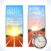 Stopwatch banners vertical — Stock Vector
