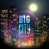 Stad bij nacht — Stockvector