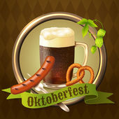Beer mugs Octoberfest poster — Cтоковый вектор