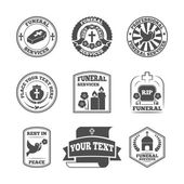 Funeral labels icons set — Stock Vector