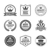 Crown labels icon set — Stock Vector