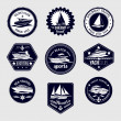 Sailboats travel labels icons set — Stock Vector #51501335