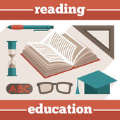 Education reading icons set — Stock Vector