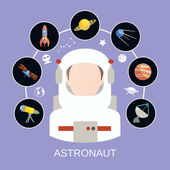 Astronaut and space icons — Vector de stock