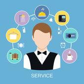 Servicio de habitaciones de hotel — Vector de stock