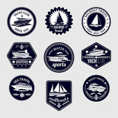 Sailboats travel labels icons set — Stock Vector