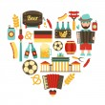 Germany travel heart set — ストックベクタ