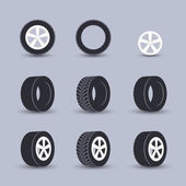 Tire icon set — Stock Vector
